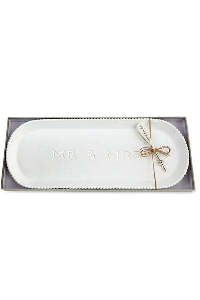 Mr. & Mrs. Beaded Hostess Tray