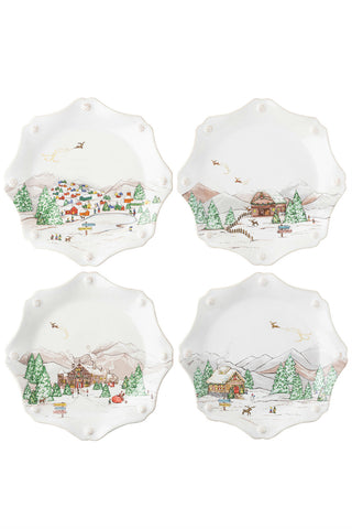 Juliska Berry & Thread North Pole Salad/Dessert Plates Set of 4