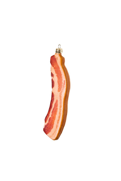 Santa Loves Bacon Glass Ornament