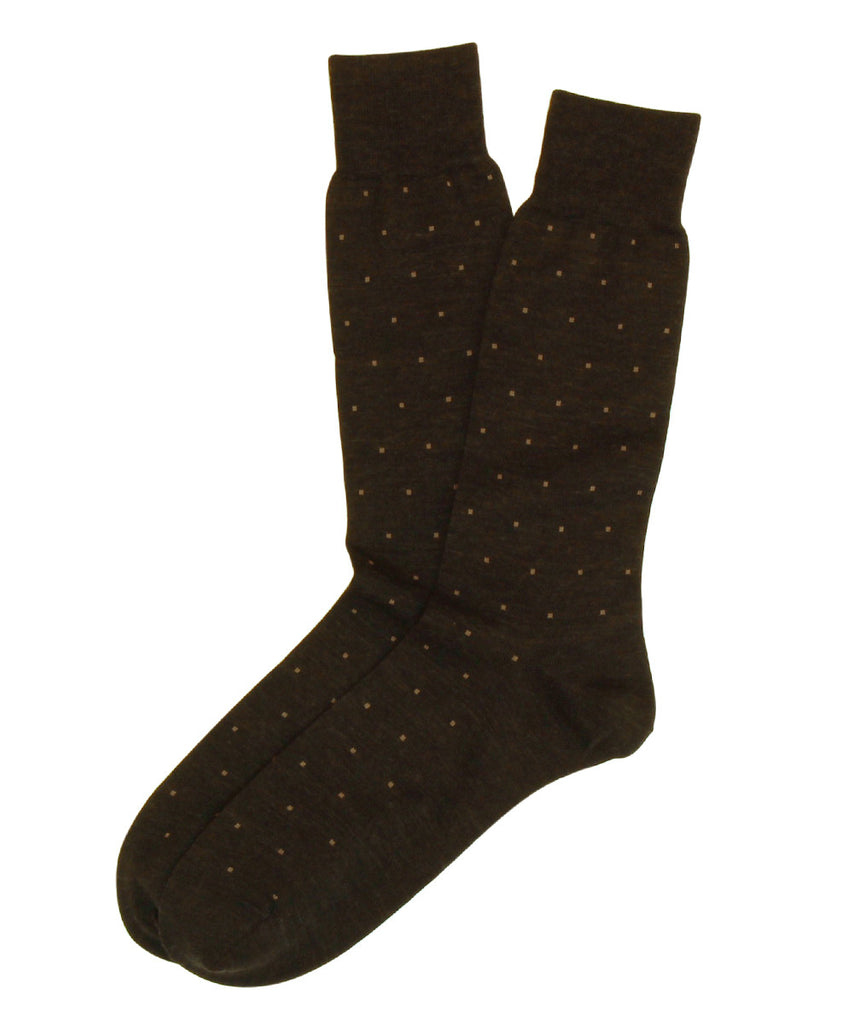 Black Square Dots Merino Wool Mid Calf Sock