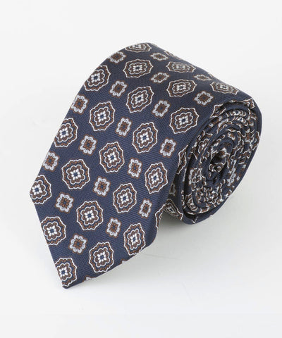 Brown Large Spaced Medallion Tie