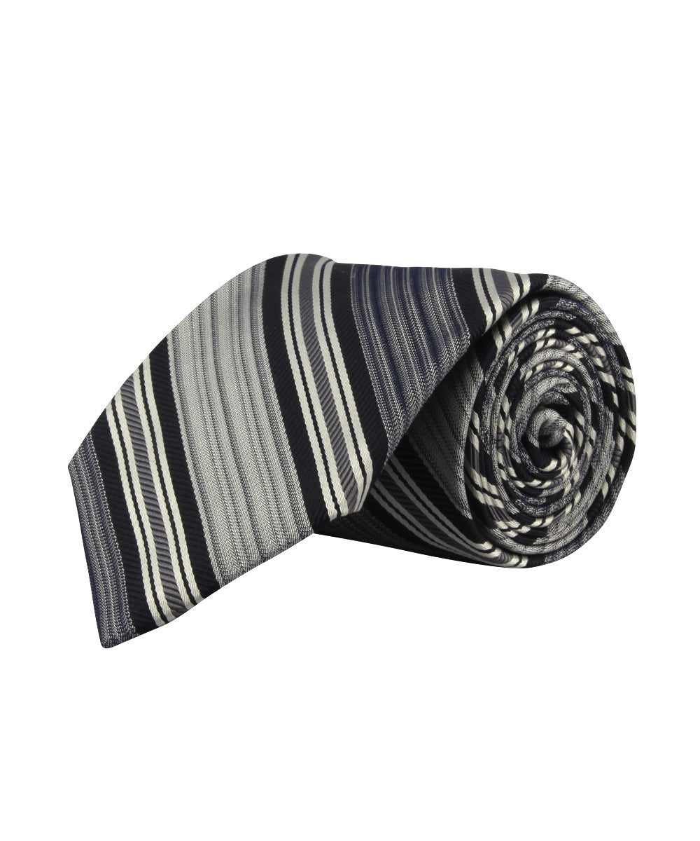 Black/Grey Corded Stripe Tie
