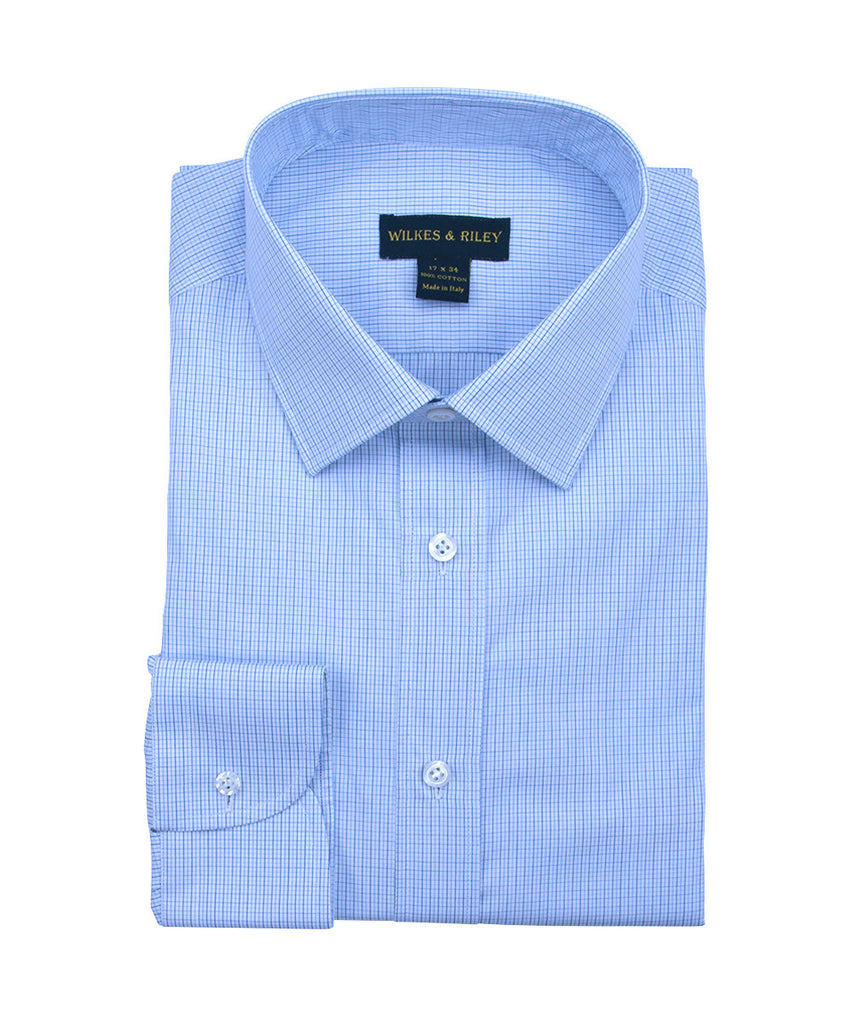 Wilkes and Riley Tailored Fit Mini Check w/ Spread Collar