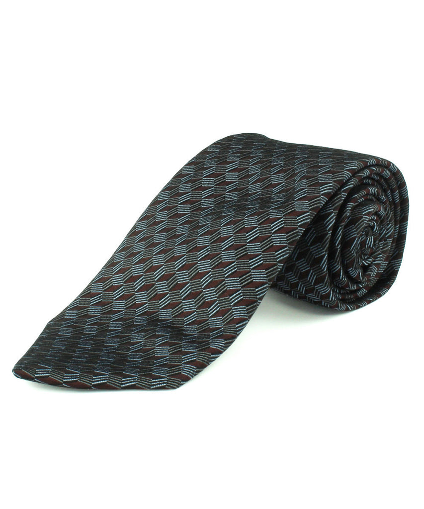 Burgundy Diamond Geometric Tie