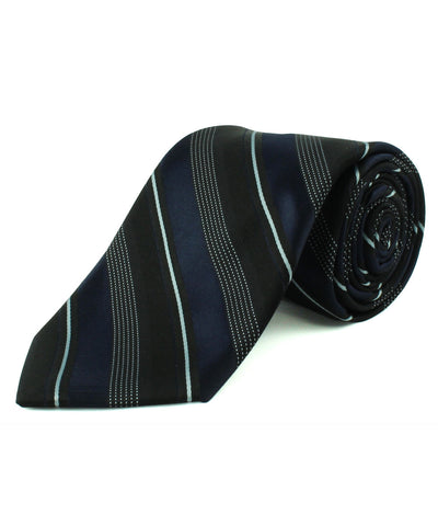 Black/Navy Triple Textured Stripe Tie