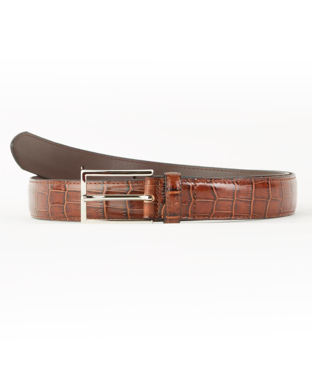 Wilkes & Riley Cognac Embossed Aligator Belt