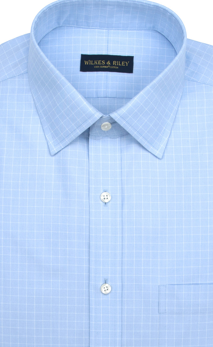 Wilkes & Riley Light Blue Ground Check Spread Collar
