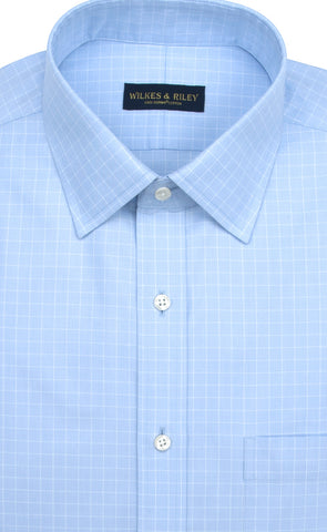 Tailored Fit Light Blue Ground Check Spread Collar Supima® Cotton Non-Iron Pinpoint Oxford Dress Shirt