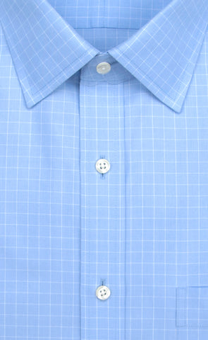 Wilkes & Riley Light Blue Ground Check Spread Collar Alt