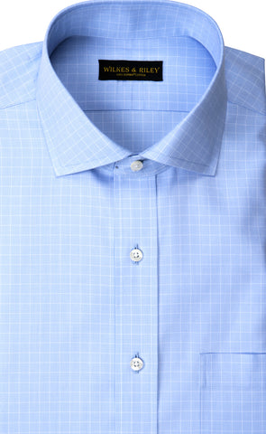 Classic Fit Light Blue Ground Check English Spread Collar Supima® Cotton Non-Iron Pinpoint Oxford Dress Shirt