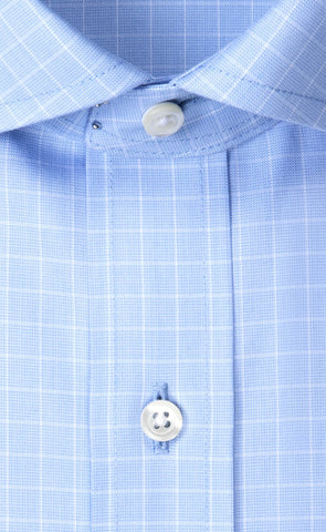 Wilkes & Riley Light Blue Pinpoint Check English Spread Collar Alt