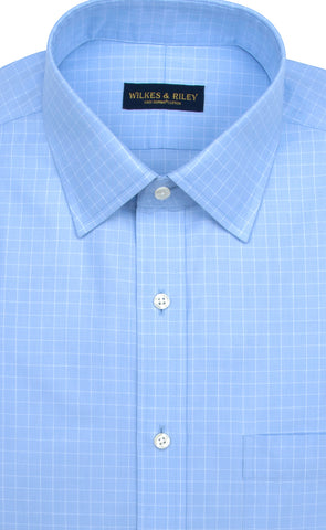 Slim Fit Blue Check Spread Collar Supima® Cotton Non-Iron Pinpoint Oxford Dress Shirt
