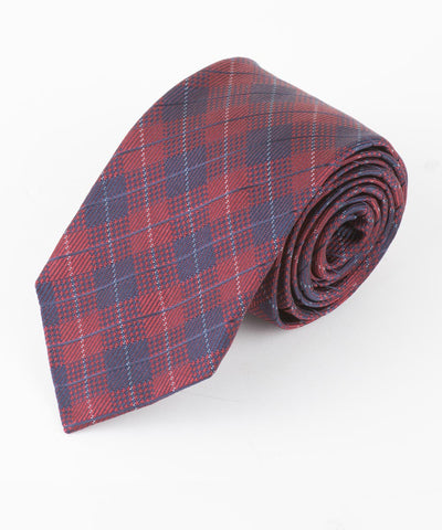 Burgundy Diamond Plaid Tie
