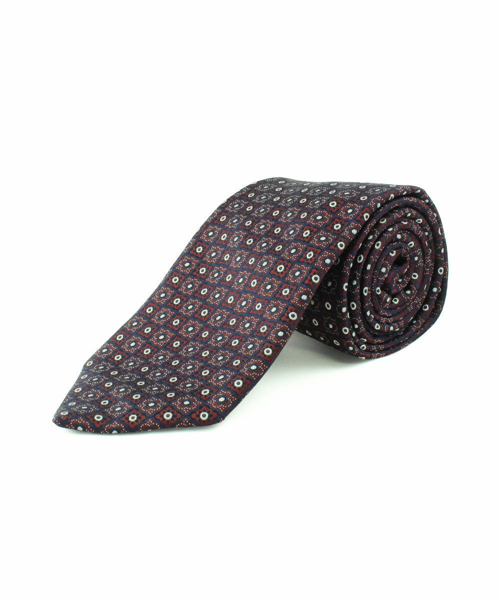 Burgundy Small Alternating Neat Tie