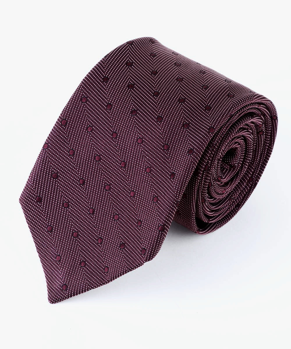 Burgundy Textured Dots Tie