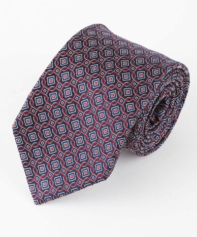 Burgundy Square Geometric Tie