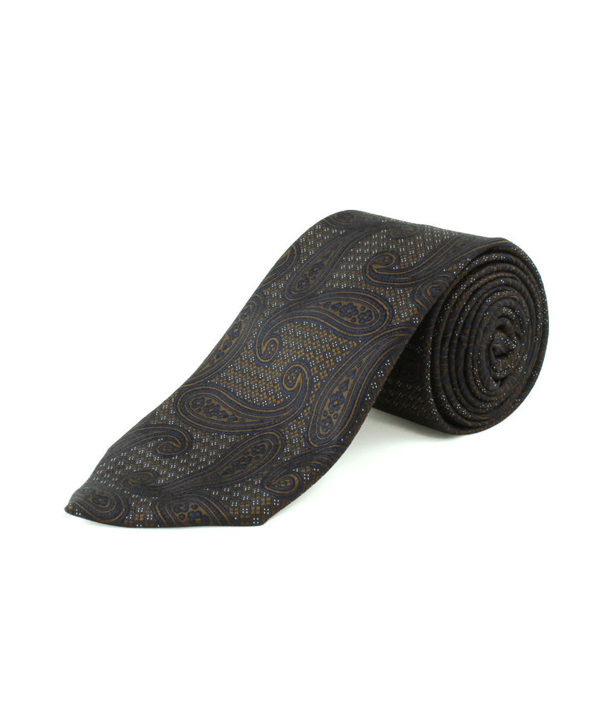 Brown/Navy Large Paisley Tie