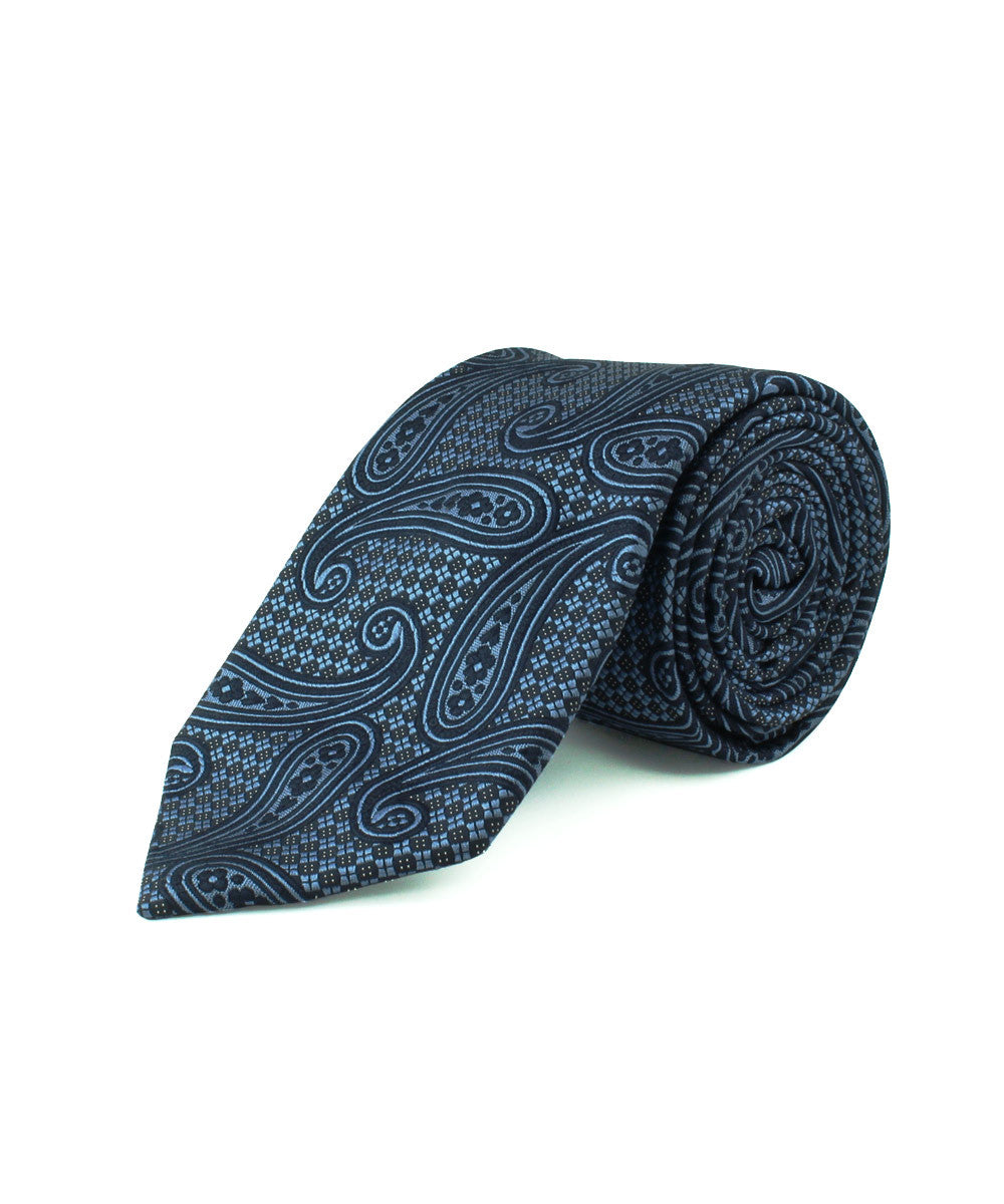 Blue/Navy Large Paisley Tie