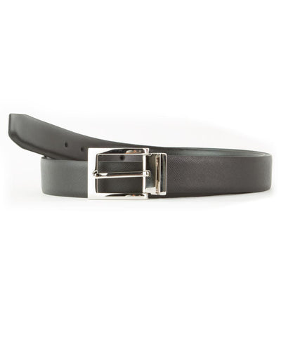 Black Saffiano Reversible Calfskin Belt