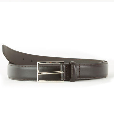 Brown Nappa Full-Grain Leather Edge Stitch Belt