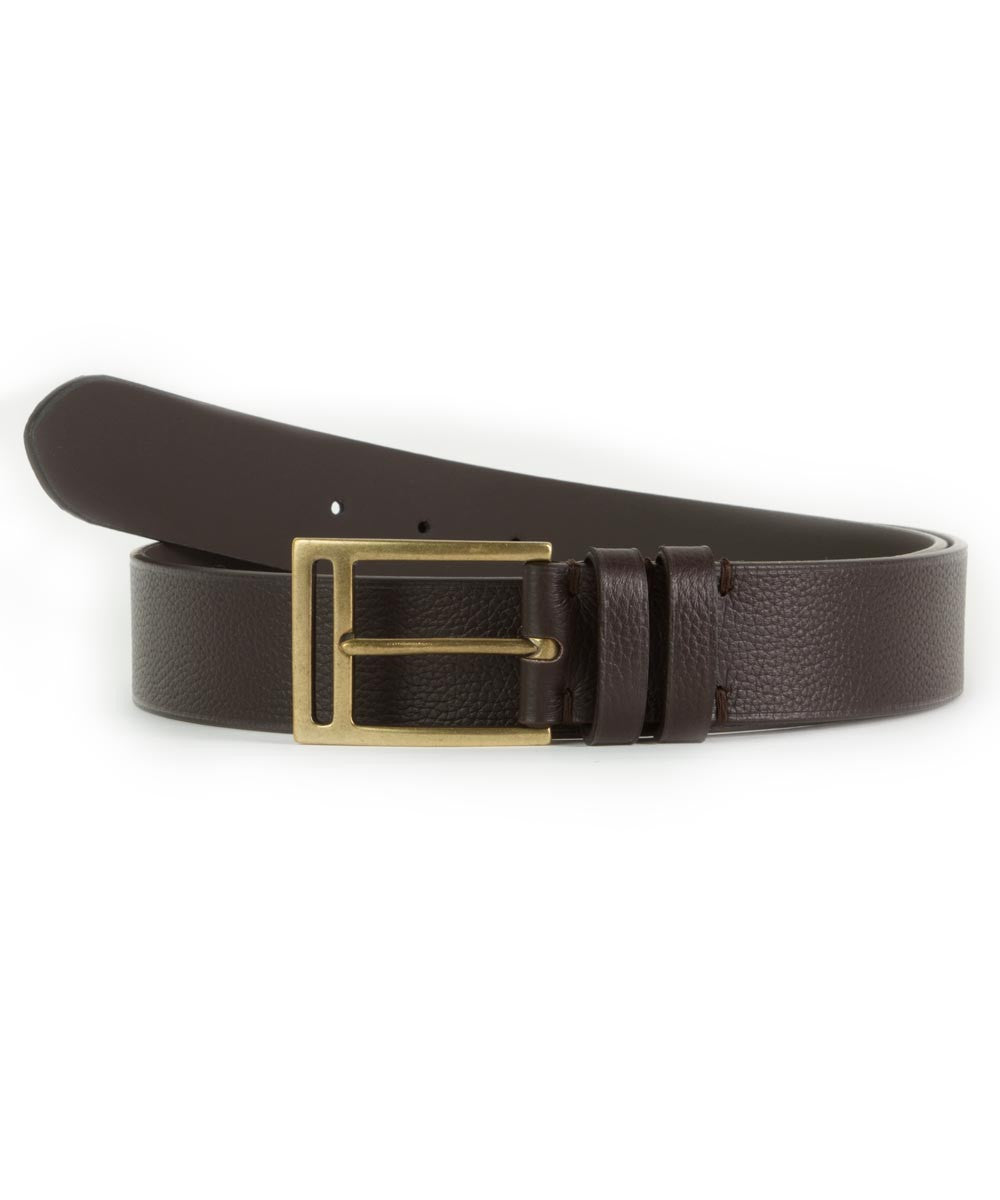 Dark Brown Textured Slab Belt