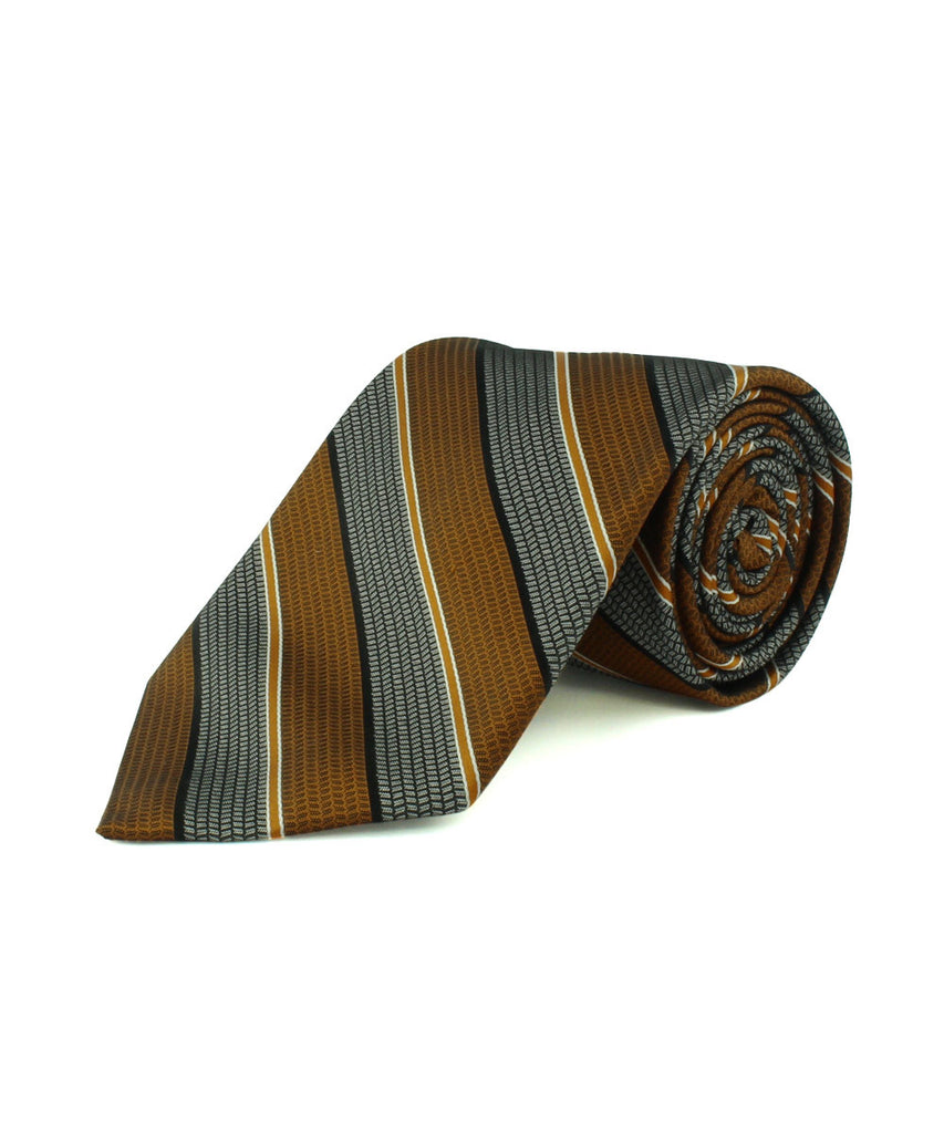 Rust Satin Textured Stripe