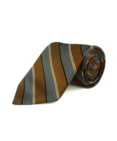 Rust Satin Textured Stripe  <br />   * made in Italy  *