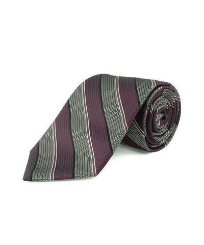 Purple Satin Textured Stripe  <br />   * made in Italy  *