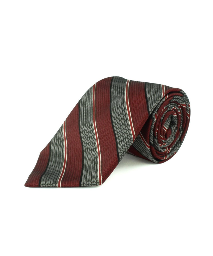 Red Satin Textured Stripe