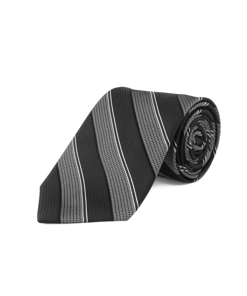 Black Satin Textured Stripe
