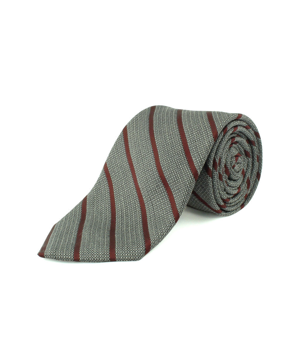 Burgundy Textured Thin Stripe Tie