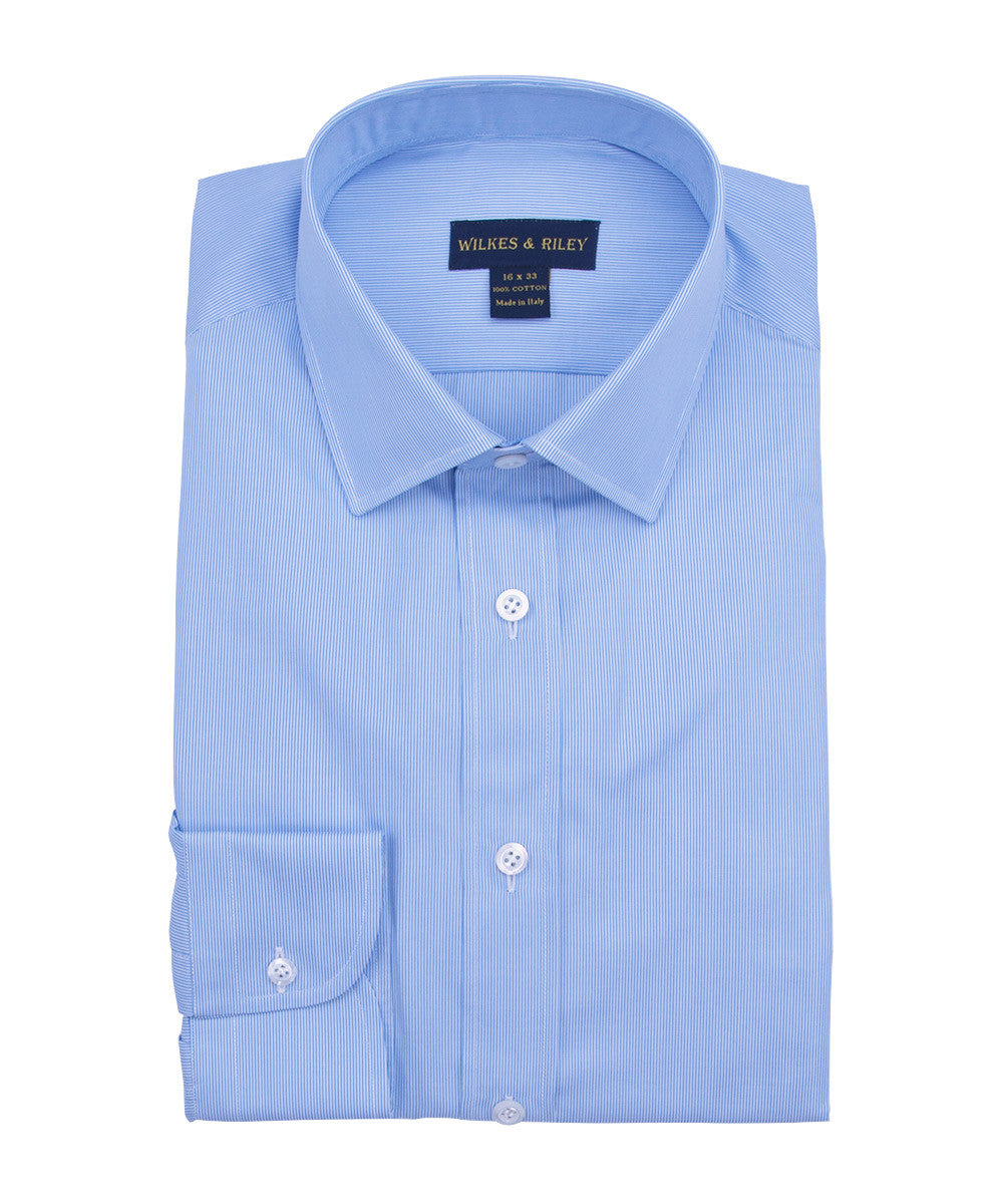 Wilkes and Riley Tailored Fit Fineline Stripe W/ White Ground Spread Collar Dress Shirt