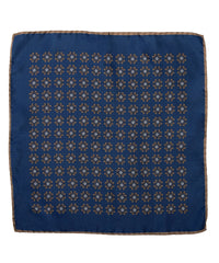 Wilkes & Riley Hand-Rolled Pocket Square - Navy With Gold Medallion