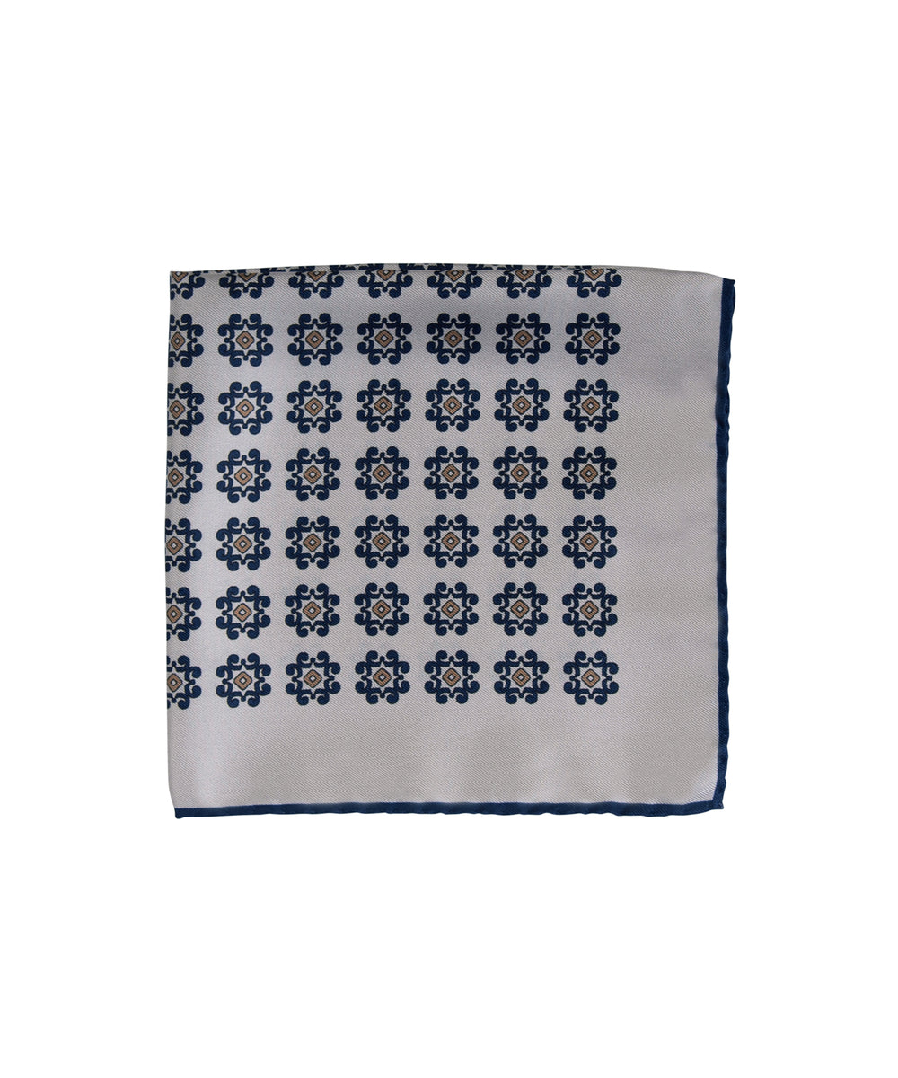 Wilkes & Riley Hand-Rolled Pocket Square - Creme With Navy & Gold Medallion