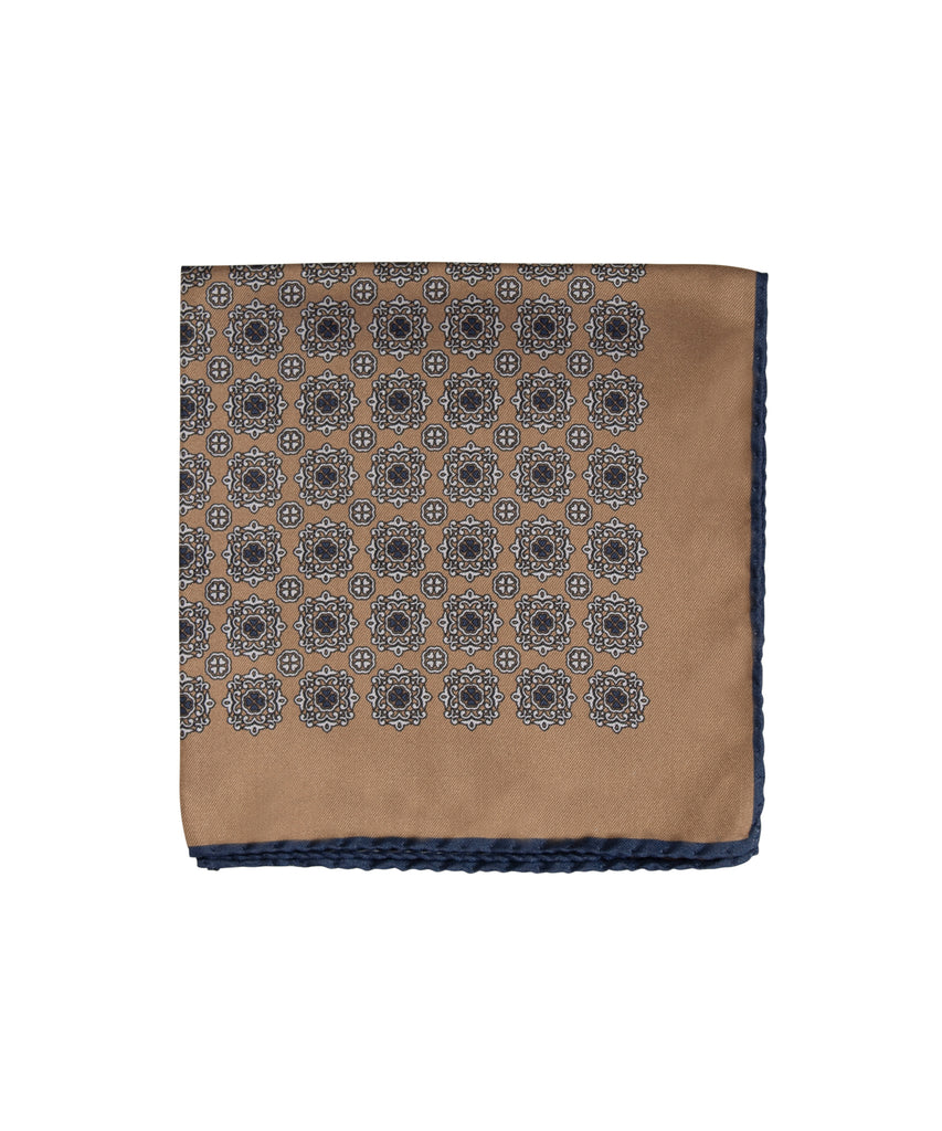 Wilkes & Riley Hand-Rolled Pocket Square - Gold Medallion