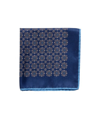 Wilkes & Riley Hand-Rolled Pocket Square - Navy Medallion
