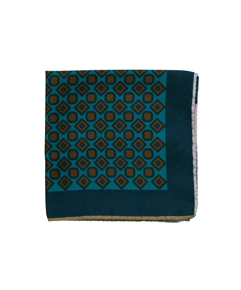 Wilkes & Riley Hand-Rolled Pocket Square - Teal Alternating Geometric