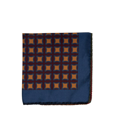 Wilkes & Riley Hand-Rolled Pocket Square - Burgundy Geometric