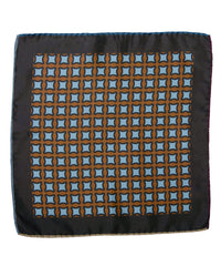 Wilkes & Riley Hand-Rolled Pocket Square - Rust Geometric
