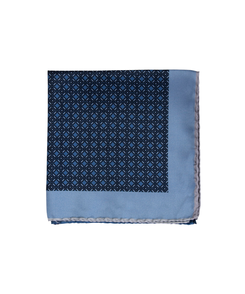 Wilkes & Riley Hand-Rolled Pocket Square - Blue All-Over Geometric