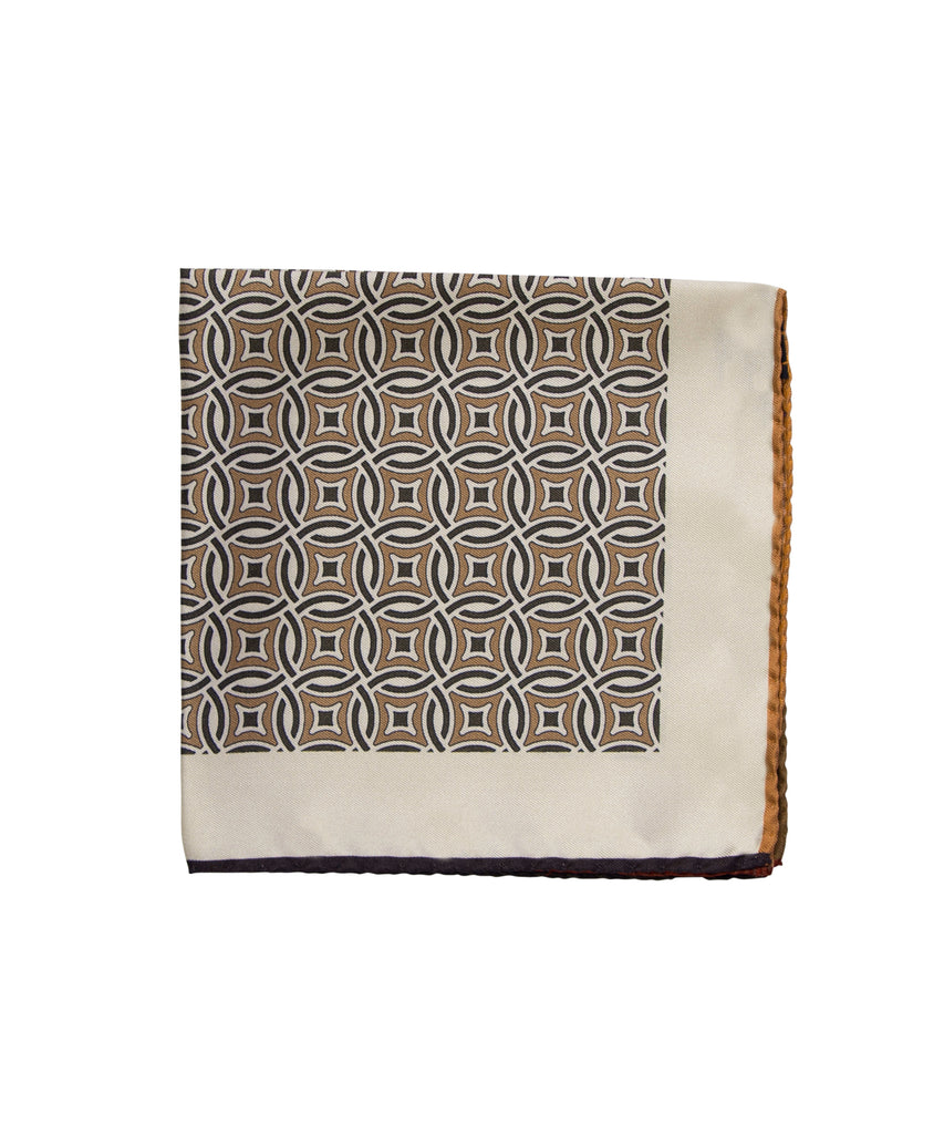 Wilkes & Riley Hand-Rolled Pocket Square - Tan All-Over Geometric