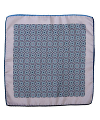Wilkes & Riley Hand-Rolled Pocket Square - Teal All-Over Geometric
