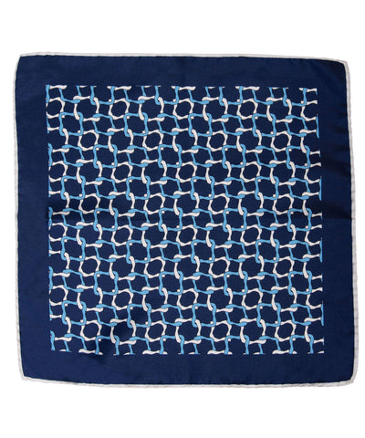 Wilkes & Riley Hand-Rolled Pocket Square - Navy Linked Geometric