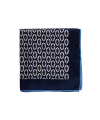 Wilkes & Riley Hand-Rolled Pocket Square - Navy Foulard