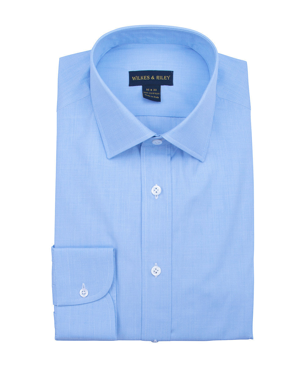 Wilkes and Riley Tailored Fit Blue End On End Dress Shirt Spread Collar