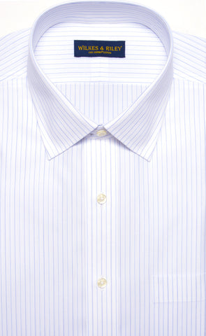 Classic Fit Narrow Alternating Stripe Spread Collar Supima® Cotton Non-Iron Broadcloth Dress Shirt