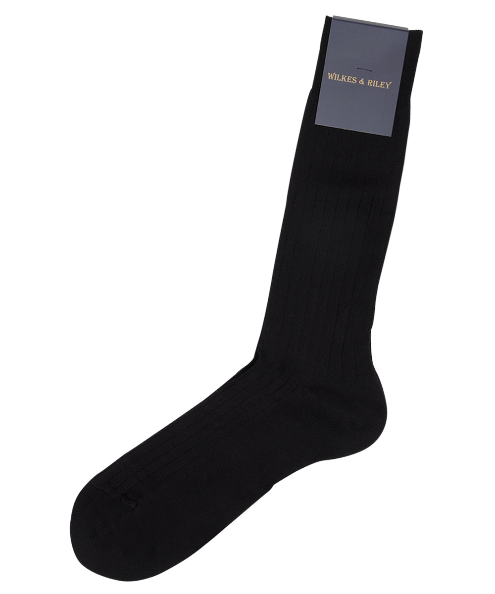 "Black Ribbed Cotton Lisle ""Filo Di Scozia"" - Mid Calf"