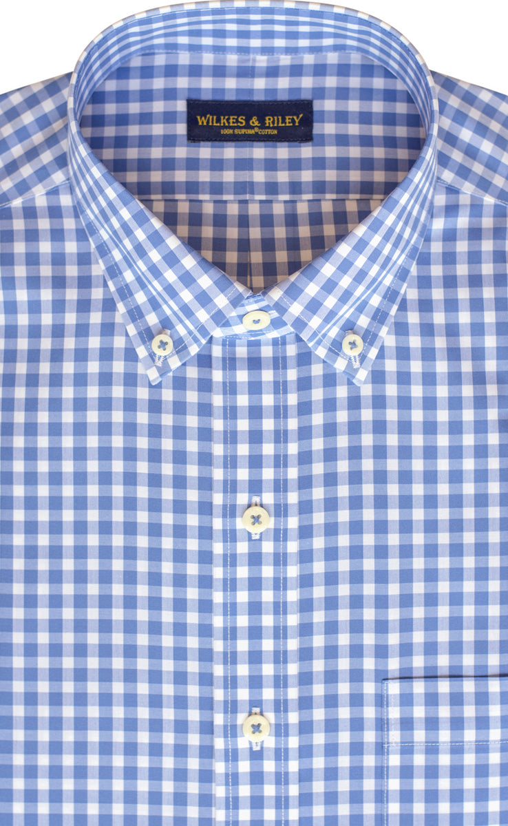 Tailored Fit Blue Gingham Button-Down Collar Supima® Non-Iron Cotton Broadcloth Sport Shirt