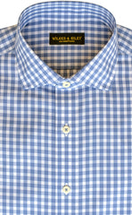 Slim Fit Blue Gingham English Spread Collar Supima® Cotton Non-Iron Broadcloth Dress Shirt