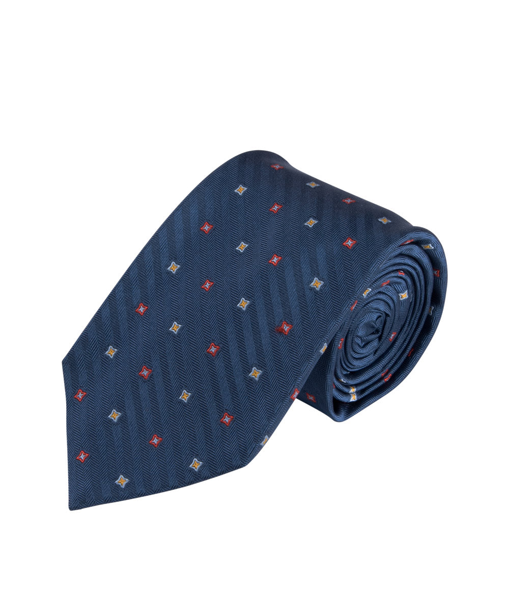 Blue Herringbone Neat Tie (Long)